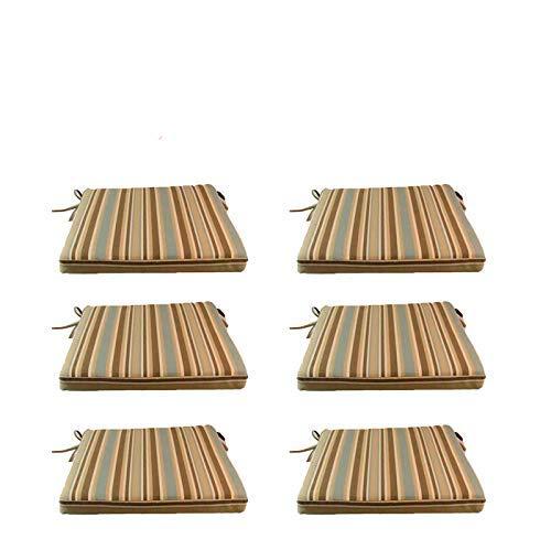 Lot de 6 Coussins de siège Lux pour extérieur rayé, pour chaises et fauteuils de Jardin | Dimensions: 44x44x5 cm | Imperméable | Déhoussable | Livraison Gratuite