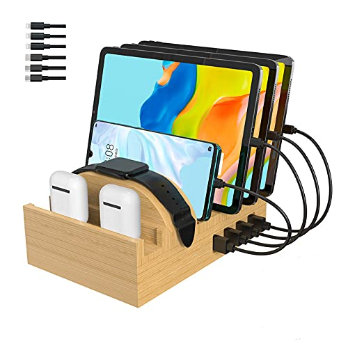 Bamboo Charging Station for Multiple Devices, Alltripal Wood Desktop...