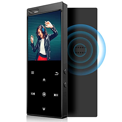 32GB MP3 Player Bluetooth 4.2 mit Verlustfreier Sound FM Radio,Sprachaufzeichnung,E-Book Funktionen,1.8 Zoll Sport MP3-Player mit Kopfhörer und Lanyard,Unterstützt bis 128GB TF Karte