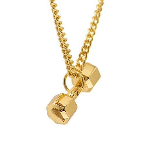 24K Vergoldet Hantel Halskette Sieben-seitige Anhänger Fitness Schmuck Fitness Geschenk