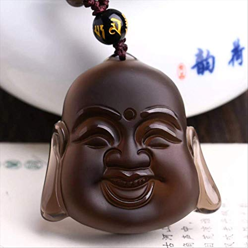 xtszlfj EIS Haarfarbe Natürlicher Obsidian Stein Lachender Buddha Kopf Anhänger Halskette Glückliche Böse Geister Für Frauen Männer Modeschmuck