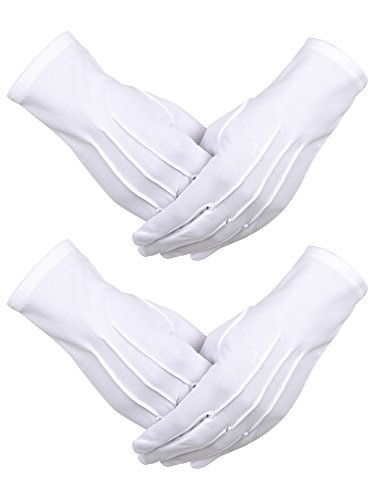 Sumind 2 Pairs Nylon Cotton Gloves for Police Formal Tuxedo Honor Guard Parade Costume (White)