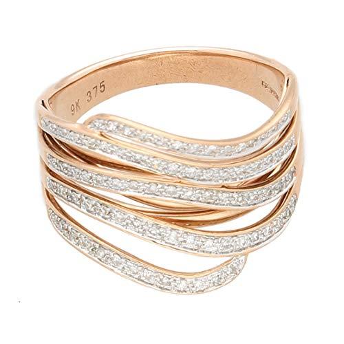 Anillo de oro rosa de 9 quilates con diamantes de 0,33 quilates (tamaño M 1/2) de 15 mm de ancho   Anillo de lujo para mujer