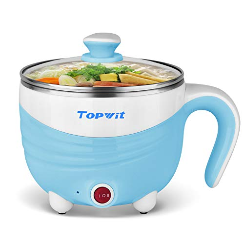 Electric Hot Pot 1.5L, Rapid Noodles Cooker, Mini Pot, Cook Perfect for Ramen, Egg, Pasta, Dumplings, Soup, Porridge, Oatmeal, Blue - A Must Have Cooker for Student – Topwit