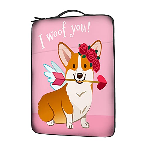 Beabes Floral Puppy Hold Heart Arrow Laptop Sleeve Carrying Case Pet Cupid Corgi Dog Rose Flower Wreath Love Protective Notebook Accessory Bag Case for Compatible with 15.6' Computer Student