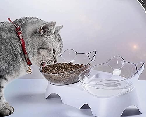 Cuenco para gatos con patas fuertes en la parte inferior, antideslizante y con aislamiento acústico, diseño de doble carcasa con base alta y orejas de gato