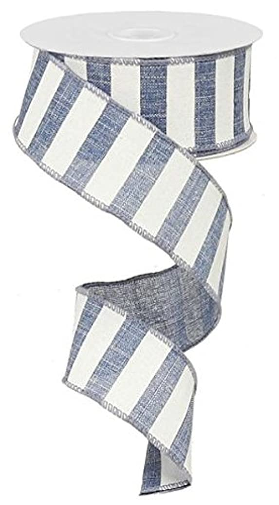 Denim Blue White Striped Fabric Burlap Wired Ribbon (1.5 Inches x 10 Yards) : RX914865