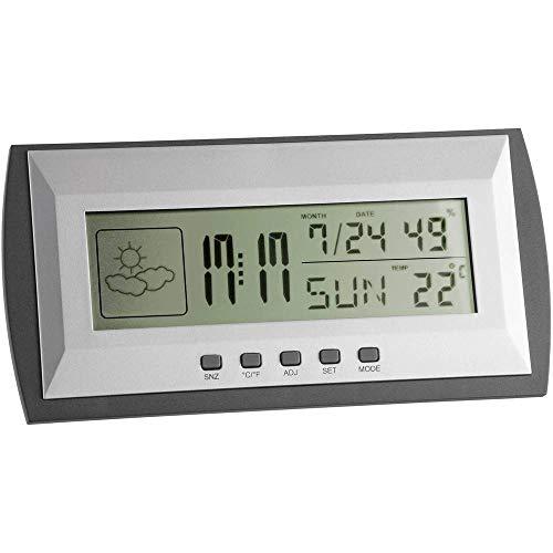 TFA Dostmann Digitale Wetterstation, Innentemperatur, Luftfeuchtigkeit, Höchst- und Tiefstwerte, Uhrzeit und Datum, Weckalarm