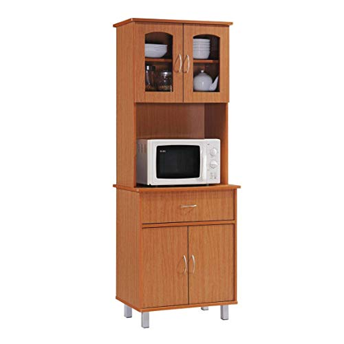 HODEDAH IMPORT Long Standing Kitchen Cabinet with Top & Bottom Enclosed Cabinet Space, One Drawer, Large Open Space for Microwave, Cherry