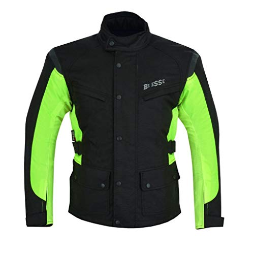 BI ESSE - Chaqueta GiaBI ESSE – Chaqueta de moto de cordura para hombre, tejido impermeable, forro térmico extraíble, protecciones certificadas (negro/fluorescente, 5XL)