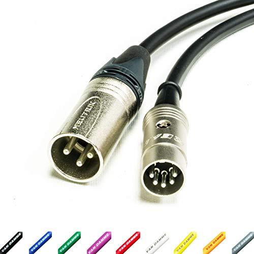 MIDI over XLR Adapter kabel. Mannelijke XLR naar 5 Pin DIN. Neutrik & Van Damme 9m Geel