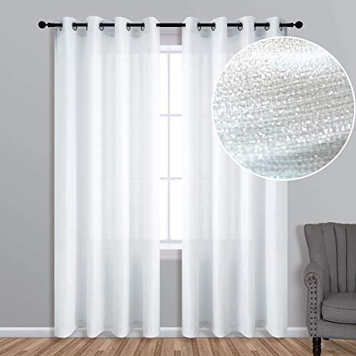 White Silver Curtains 84 Inches Long for Living Room 1 Panel Grommet Linen Textured Metallic Sparkle Window Drapes Semi Sheer Shimmer Glitter Curtains for Bedroom Chic Sparkling 52x84 Inch Length