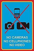 カメラなし、携帯電話なし、ビデオなし メタルポスター壁画ショップ看板ショップ看板表示板金属板ブリキ看板情報防水装飾レストラン日本食料品店カフェ旅行用品誕生日新年クリスマスパーティーギフト