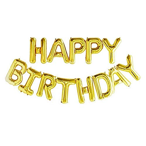 Andere Zelf Opblazen Gelukkige Verjaardag Banner Ballon Bunting Zilver 16 inch Letters Folie Goud