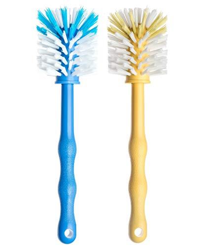 Spülbürste 2er Set – Spülbürsten für die perfekte Reinigung – Reinigungsbürste ideal auch zum Gläser spülen - Als Gläserspülbürste/Gläserbürste/Bürstenset Reinigungsbürsten (Blau/Gelb)