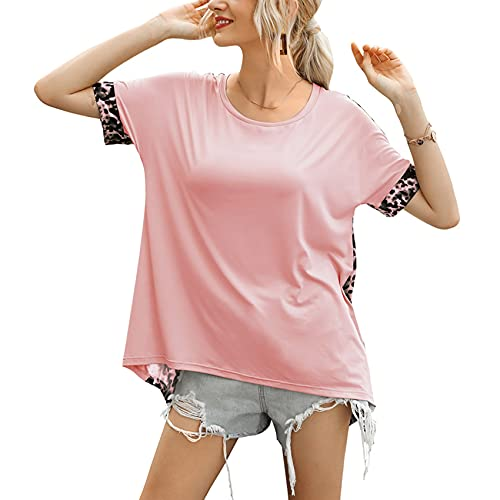 Jersey Informal De Primavera Y Verano para Mujer, Cuello Redondo Suelto, Color SóLido, Manga Corta, Espalda, Costura De Leopardo, Camiseta para Mujer