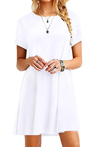 YMING Damen Rundhals T-Shirt Kleid Casual Mini Kleid Kurzarm Tunika Longshirt,Weiß,XS/DE 32-34