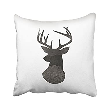 Emvency Throw Pillow Covers Deer Head Modern Ombre Watercolor Black And White Decor Pillowcases Polyester 20 X 20 Inch Square Hidden Zipper Home Cushion Decorative Pillowcase