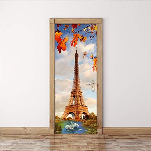 """DEENLI Prime Stickers Porte 35.4""""X78.7"""", Mur 3D Créatif De Bricolage, Lac De Cygne De La Tour De Paris, Papier Peint Salon Moderne, Restaurant, Décalcomanies"""