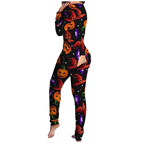 BIBOKAOKE Damen Overall Schlafanzug Halloween Cosplay Kostüm Butt Button Back Flap Jumpsuit Pyjama Jumpsuit Overall Einteiler Pyjama Schlafanzug Schlank Trainingsanzug Hausanzug
