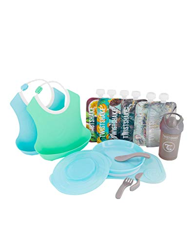 TWISTSHAKE Juego de Vajilla Bebés Click Mat Mini + Plato, 2 Pcs Baberos, Vaso con Boquilla, 6x Bolsas reutilizables   Sin BPA, Azul/Verde