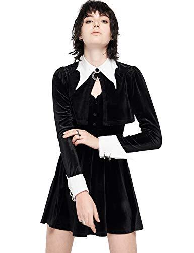 Punk Rave Vestido de mujer Steampunk retro gótico Lolita con falda de tirantes ajustable, 2 colores Negro L