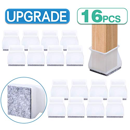 Furniture Chair Leg Caps 16PCS 2-in-1 Silicone Felt Combination Transparent Floor Furniture Chair Protectors Table Feet Pads Cover Leg Caps Silicone Prevents Scratches and Noise Without Marks Leaving