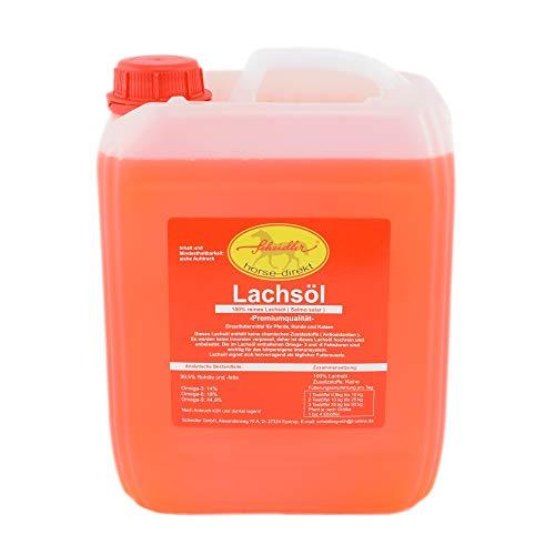 Horse-Direkt Premium Lachsöl 5 Liter Kanister Für Hunde & Katzen - Kaltgepresst Ohne Zusatz, Fischöl Mit Omega 3 und Omega 6 Fettsäuren, Barf Öl Ergänzung, Gesundes Naturprodukt