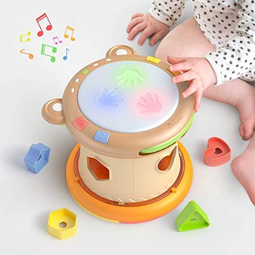 Tumama Juguetes Musicales para Bebes,Juguetes electrónicos Musicales Tambores de Juguete para niños,Juguetes Bebe Sensoriales con Sonido y Luces,Instrumentos Musicales Cubo Regalos para niños