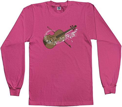 Threadrock Big Girls' Violin Youth L/S T-Shirt M Fuchsia