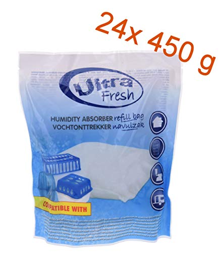 24x 450g Luftentfeuchter Nachfüllpack Ultra Fresh - Nachfüllbeutel für Raum Entfeuchter Nachfüllpack Raumtrockner Granulat