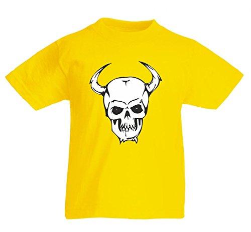 Camiseta de calavera con cuernos en el lateral, esqueleto, rocker, club de moto, gótico, bicicleta, calavera, escuela antigua para hombre, mujer, niños, 104 – 5 XL amarillo Para Hombre Talla : XX-Large