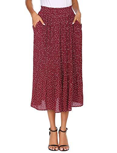 Parabler Damen Sommerrock Boho Retro Maxi Langer Rock Rot Elastische Taille Chiffonrock Punkte Faltenrock Strandrock Long Skirt