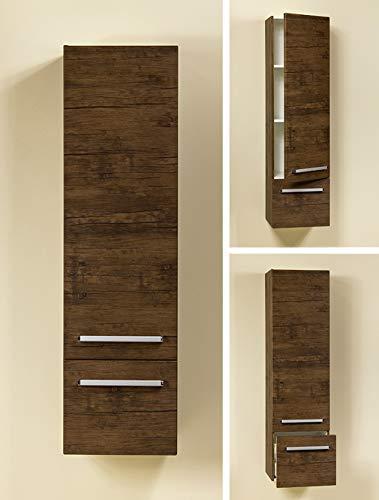 Quentis Badschrank, Badmöbelserie Genua/Zeno, Hochschrank, wandhängend, eine Tür und eine Schublade, Holzdekor antik