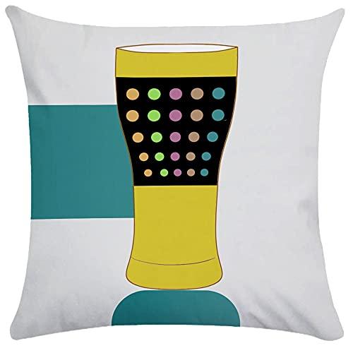 Funda de almohada cuadrada de 60 x 60 cm, diseño de botella de vino, decoración abstracta para el hogar, sofá y lino