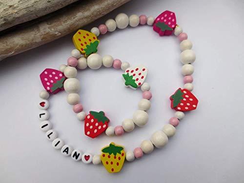 Weiß - bunte Kette f. Kinder, Kinderkette aus Holzperlen, Namenskette, Erdbeeren, elastisch, personalisierbar, auch ohne Buchstaben möglich