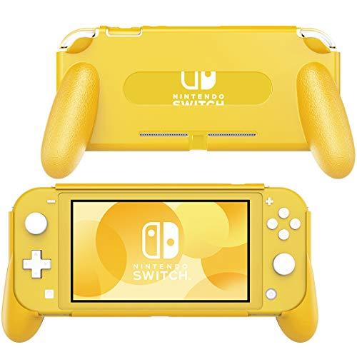 MoKo Funda con Asa Compatible con Nintendo Switch Lite, Accesorio de Mango Rellenos Integrados de Diseño Ergonómico Durable Cómodo para Nintendo Switch Lite y Joystick - Amarillo