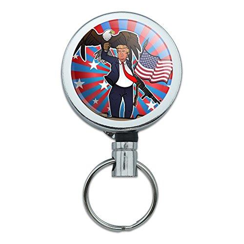 Patriotic Donald Trump with Eagle American Flag Gun Heavy Duty Metal Retractable Reel ID Badge Key Card Tag Holder with Belt Clip
