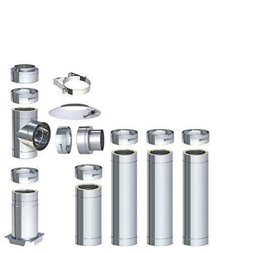 H&M DW New-Line Schornstein-Paket 4,7m Ø 150mm Edelstahl Bausatz doppelwandig 25mm Isolierung 0,5mm Wandstärke Design Aussen-Kamin Set Holz-Ofen Kamin-Einsatz