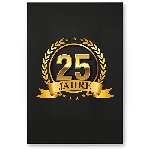 Bedankt! 25 jaar goud, plastic bord - Cadeau 25. verjaardag, cadeau-idee verjaardagscadeau vijfentige, verjaardagsdeco/feestdecoratie/feestaccessoires/verjaardagskaart