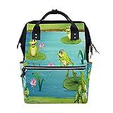 Casual Travel Daypack DREI Frosch Teich Seerose Blume Reise Rucksack für Mütter Väter Wickeltasche Rucksack Wickeltasche Mode Reisetaschen, große Kapazität, Mehrzweck, stilvoll und langlebig