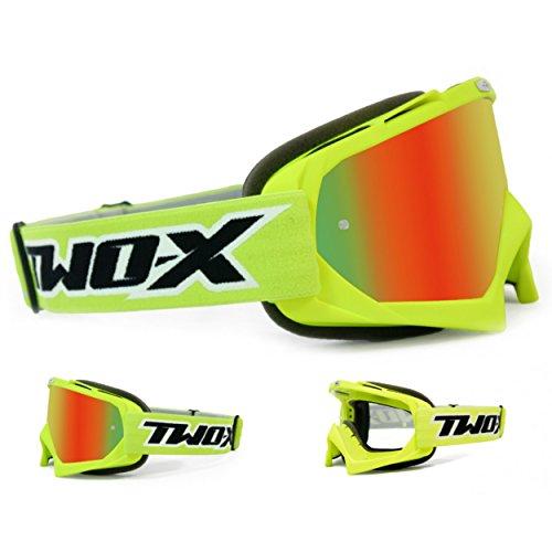 TWO-X Race Crossbrille neon gelb Glas verspiegelt Iridium MX Brille Motocross Enduro Spiegelglas Motorradbrille Anti Scratch MX Schutzbrille