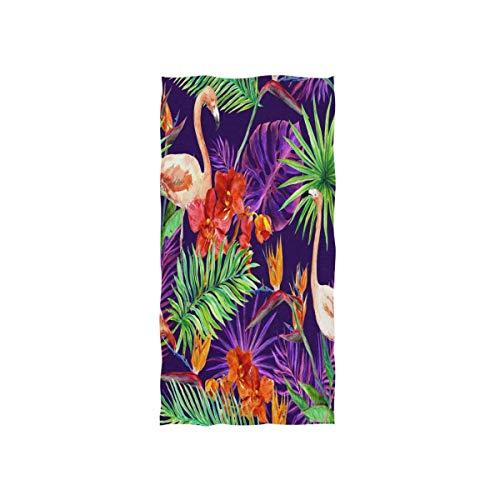 NBHBVGFC Toalla de baño suave con diseño de hojas de palmera tropical, con flores de orquídea, para hotel, spa, gimnasio, deporte, 76,2 x 38,8 cm