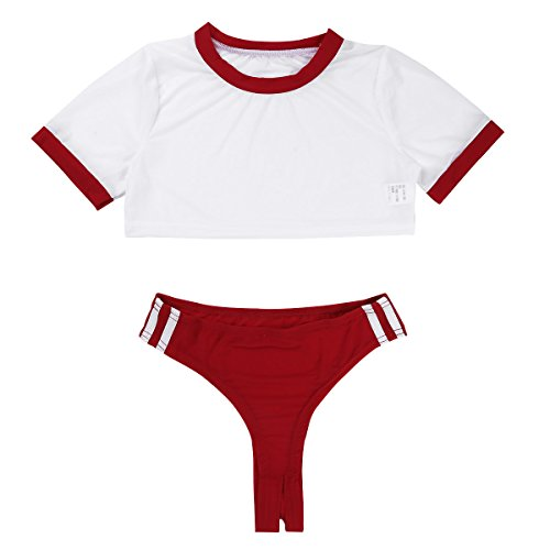 FEESHOW Damen sexy Dessous Set Sportilche Kurzarm T-Shirt Top bauchfreie Oberteile mit Ouvert Tanga Slip Erotik Unterwäsche Reizwäsche Clubwear One Size Rot_A One_Size