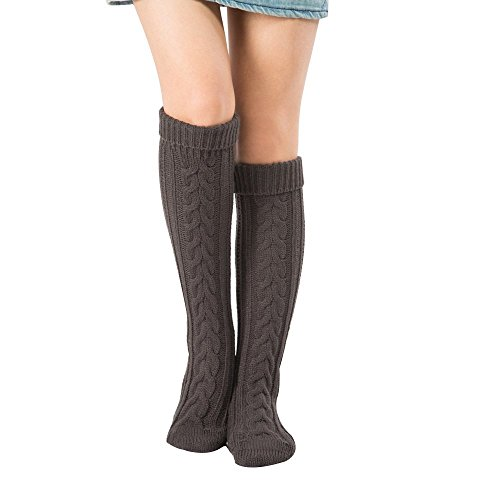 Juleya 1 Paar Strümpfe Damen Knie Struempfe Winter Elegant Thigh High College Knie Socken Frauen Beinstulpen Beinwärmer Strick Socken 8 Farben