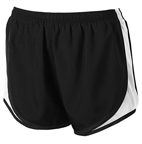 Clothe Co. Ladies Moisture Wicking Sport Running Shorts, Black/White/Black, M