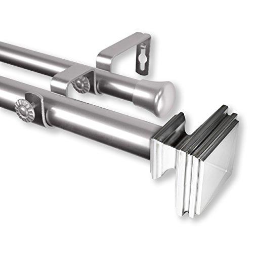 "Rod Desyne 100-36-995-D Bedpost 1"" OD 120-170 inch-Satin Nickel Double Curtain Rod Set, 120-170"""