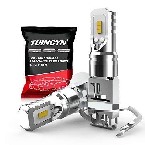 TUINCYN 1600Lm Luz antiniebla LED H3 extremadamente brillante 6500K Blanco chip de alta potencia 80W CSP DRL Bombilla LED de luz diurna DC 12V-24V (paquete de 2)