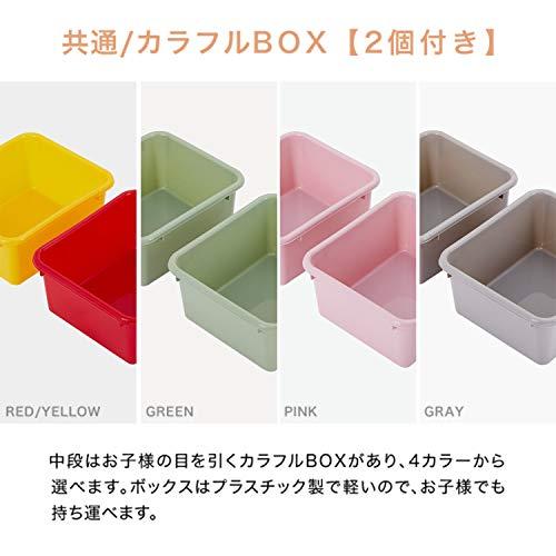 LOWYAおもちゃ収納絵本棚絵本ラック本箱おもちゃ箱タイプAナチュラル+レッド/イエロー