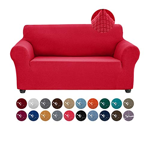 Joccun Stretch Loveseat Couch Cover Slipcover, 1-Piece Water Repellent Sofa Cover for 2 Cushion Couch Spandex Jacquard Washable Furniture Protector Cover for Living Room,Kids,Pets(Loveseat,Ruby)